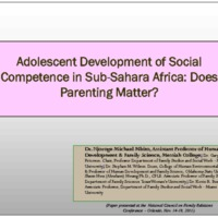 Adolescent Development of Social Competence in Sub-Sahara Africa: Does Parenting Matter?