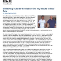 Mentoring outside the classroom: my tribute to Rod Cate