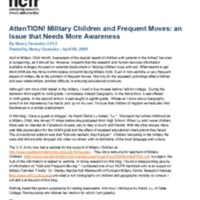 AttenTION!  Military Children and Frequent Moves: an Issue that Needs More Awareness