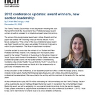 2012 conference updates: award winners, new section leadership