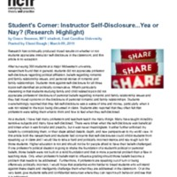 Student's Corner: Instructor Self-Disclosure...Yea or Nay? (Research Highlight)