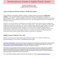 "Family Relations - Call for Submissions ""Media and Families"""