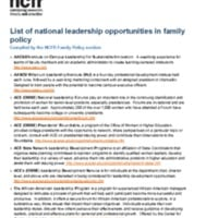 List of national leadership opportunities in family policy