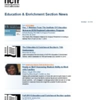 News from the Education & Enrichment Section