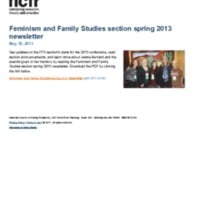 Feminism and Family Studies section spring 2013 newsletter