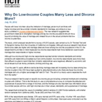 Why Do Low-Income Couples Marry Less and Divorce More?