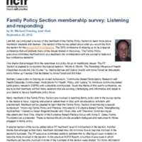 Family Policy Section membership survey: Listening and responding