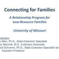 Connecting for Families: A Relationship Program for Low-Resource Families