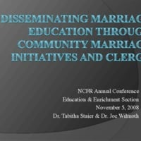 Disseminating Marriage Education through Community Marriage Initiatives and Clergy