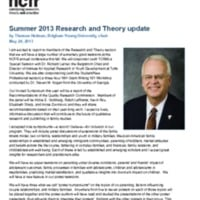 Summer 2013 Research and Theory update