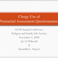 Clergy Use of Premarital Assessment Questionnaires