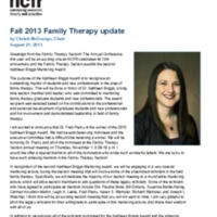 Fall 2013 Family Therapy update