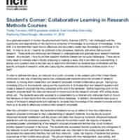 Student's Corner: Collaborative Learning in Research Methods Courses