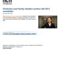 Feminism and Family Studies section fall 2013 newsletter