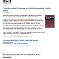 Does flex time for work really provide more family time?