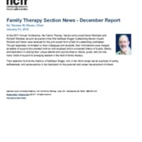 Family Therapy Section News - December Report