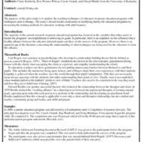 Analyzing the Educator and Student Relationship in a Parent Education Program - Handout