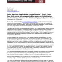 Press Release: Study Finds Few Well-being Advantages to Marriage over Cohabitation